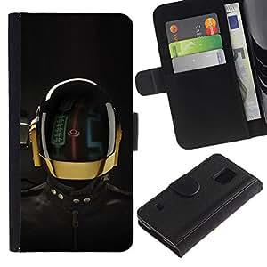 LASTONE PHONE CASE / Lujo Billetera de Cuero Caso del tirón Titular de la tarjeta Flip Carcasa Funda para Samsung Galaxy S5 V SM-G900 / Robot Space Suit Helmet Rally Futurism Tech
