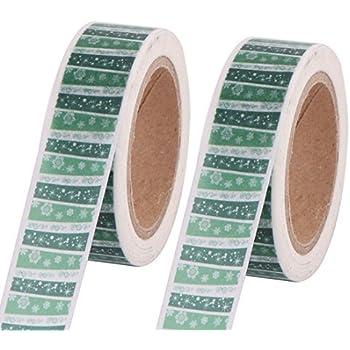 eDealMax patrón de Flores de Papelería decoración adhesiva de Papel Washi Tape 15mm x 10M 2 piezas