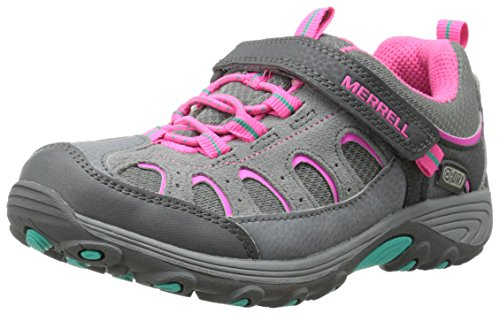 Merrell Chameleon Low A/C Hiking Boot (Little Kid/Big Kid),Grey/Pink,7 M US Big Kid by Merrell