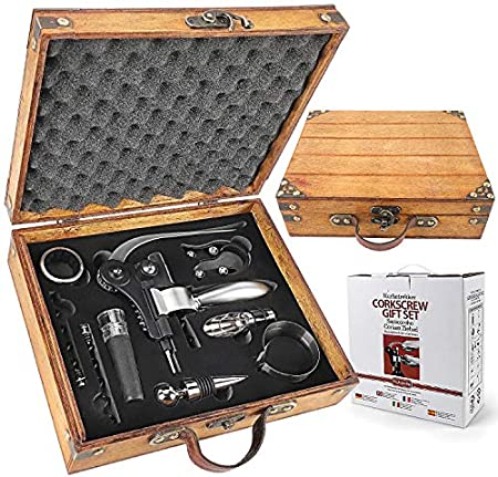 RERXN Caja de madera antigua de accesorios de vino conjuntos de regalo – Conejo abridor de vino Set de sacacorchos de vino tapón y vertedor de vino (antiguo 03)