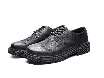 Los Hombres Bombean Los Botines del Dedo del Pie Redondo ATA para Arriba Zapatos De Cuero Ocasional Martin Cargadores De La UE Tamaño 38-44: Amazon.es: ...