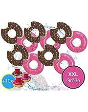 XXL opblaasbare aangebeten bruin of roze donut met beet zwemband luchtmatras zwemkussen voor zwembad, met 1 x opblaasbare bekerhouder voor cocktails, drankjes enz.