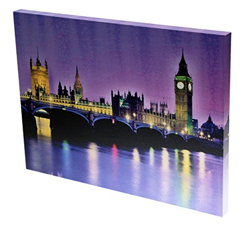 London Landmarks Big Ben and Parliament at Dusk LED Artwork with Touch-Activated Light Sensor - 11.75
