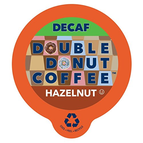 (Double Donut Coffee Decaf Hazelnut Flavored Coffee Single Serve Cups For Keurig K Cup Brewer (24 count))