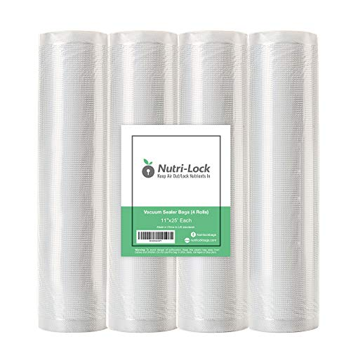 Nutri-Lock Vacuum Sealer Bags. 4 Rolls 11″x25′ Commercial Grade Bag Rolls. Works with FoodSaver and Sous Vide. Fits Inside Sealer Machine.