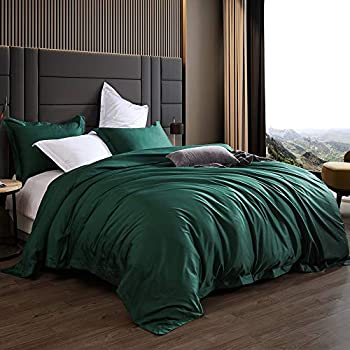 Image of Home and Kitchen AIKOFUL Luxury 3-Piece Comforter Set-1200 Thread Count 100% Egyptian Cotton Duvet Cover Set with Button Closure & Corner Ties-1 Duvet Cover 2 Pillow Sham(Twin,Emerald Green)