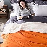 Bedsure Sherpa Fleece Blanket King Size Orange Fall