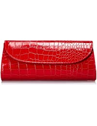 Womens Envelope Evening Patent Croc Skin Embossed Party Clutch