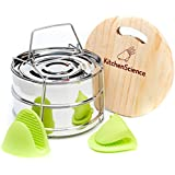Kitchen Science Stackable Steamer Insert Pans with Sling for Use as Instant Pot Insert - Pot in Pot For Instant Pot 6 Qt, 8 Qt