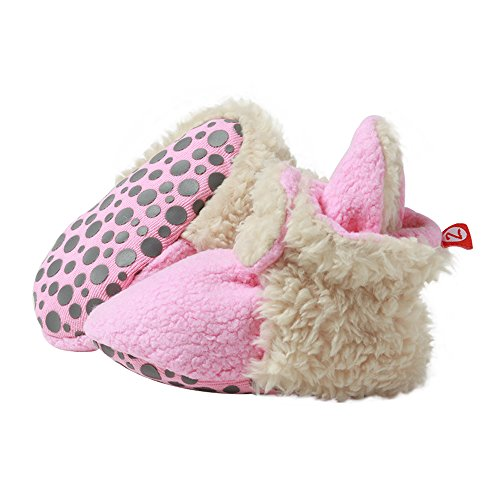 (Zutano Cozie Baby Booties Furry Hot Pink with Grippers Hot Pink 24 Months)