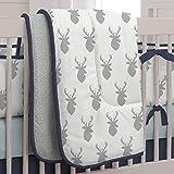 Carousel Designs Silver Gray Deer Head Crib Comforter