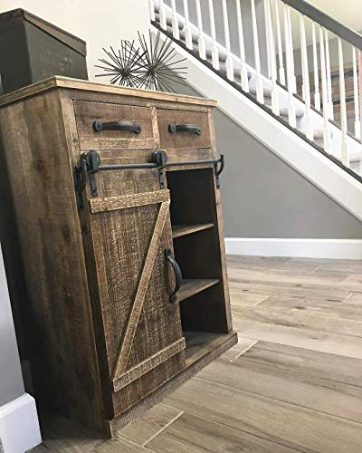 Antique Brown Wood Sliding Barn Door Cabinet with Two Drawers Three Shelves, Vintage End Table Console Cabinet Storage…