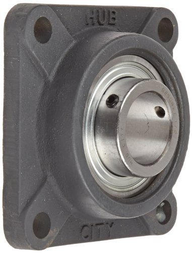 Hub City FB250URX1-1/2 Flange Block Mounted Bearing, 4 Bolt, Normal Duty, Relube, Setscrew Locking Collar, Narrow Inner Race, Cast Iron Housing, 1-1/2