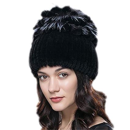 Winter Beanie Real Rabbit Fur Russian Hat Knitted Cap Warm Skulls Women Fashion