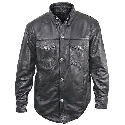 Amazon Com Xelement Xs908b Mens Black Leather Shirt With Buffalo
