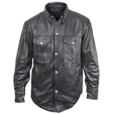 Xelement XS908B Men's Black Leather Shirt with Buffalo Buttons - Black / 4X-Large