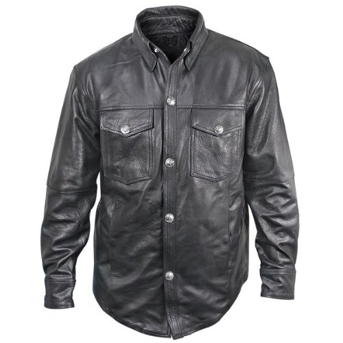 Xelement XS908B Mens Black Leather Shirt with Buffalo Buttons - - Leather Shirt
