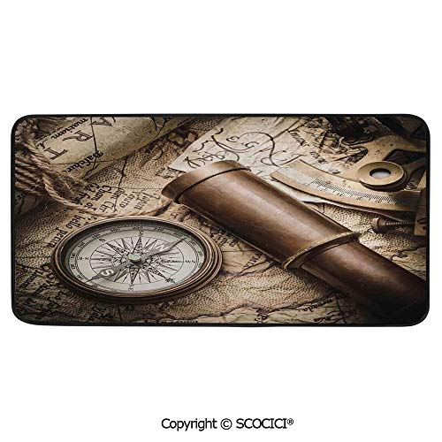 Rectangular Area Rug Super Soft Living Room Bedroom Carpet Rectangle Mat, Black Edging, Washable,Compass Decor,Vintage Still Life with Compass Sextant Spyglass and,39