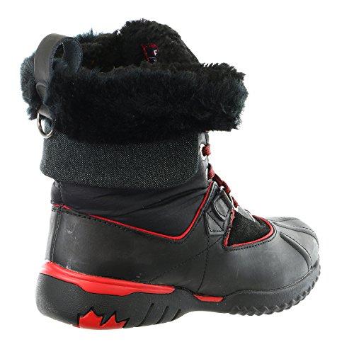 Womens black Leather red Shoe Winter Krystal grey Boot Snow Pajar black Black FYTqx