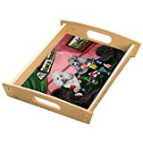 Home of Poodles 4 Dogs Playing Poker Wood Serving Tray