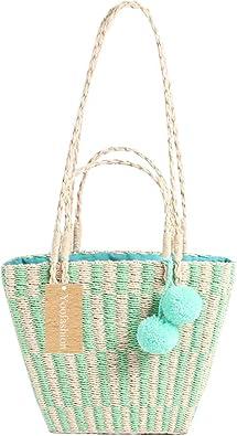 US Women Straw Handbag Beach Summer Shoulder Bag Travel Crossbody Shopper Purse