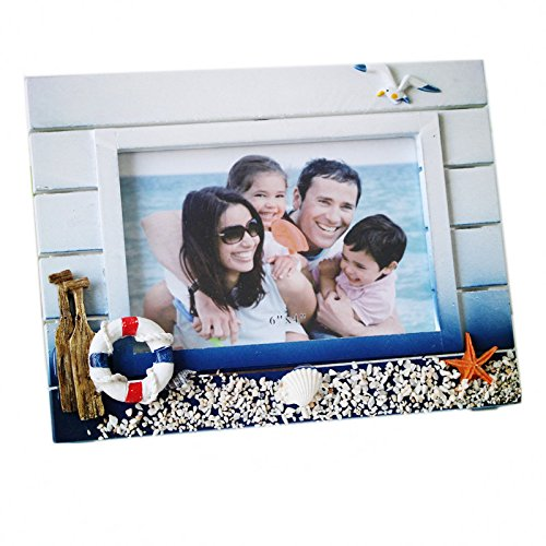 MUAMAX 4 x 6'' Beach Picture Frames Coastal Photo Frames Ocean Nautical Cruise Themed Home Party Kids Room Decoration Family Vacation Gift