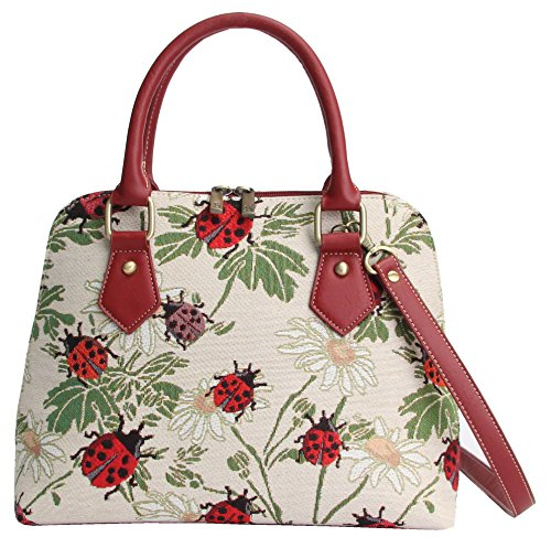 Signare Tapestry Women Top Handle Handbag/Shoulder Bag/Cross Body Bag Ladybird and Daisy (CONV-LDBD)