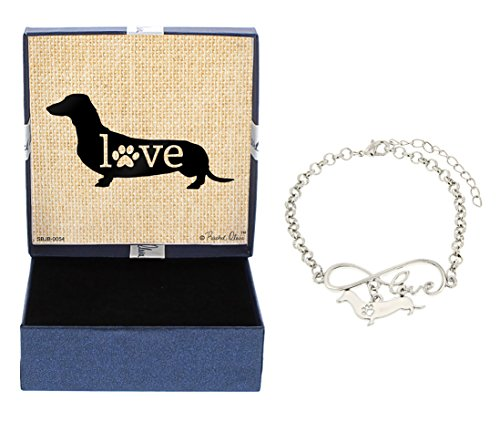 ove Dachshund Bracelet Gift Love Charm Dog Breed Silhouette Charm Bracelet Silver-Tone Bracelet Gift for Dachshund Owner Jewelry Box Mothers Day Gift Idea For A Rescue Dog Mom (Dachshund Rescue)