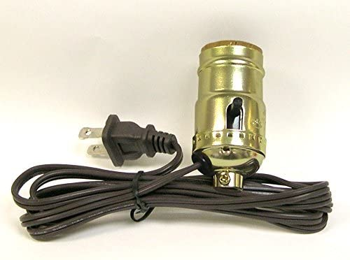 ANTIQUE BRASS FINISH ~ PUSH ON ~ OFF LAMP SOCKET { with SIDE OUTLET } ~ by PLD