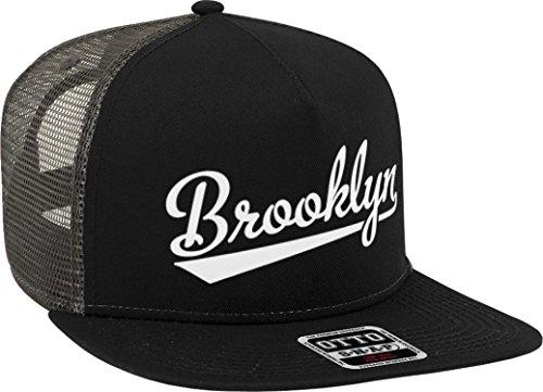 405bdff0 NOFO Clothing Co Brooklyn Script Baseball Font Snapback Trucker Hat,  Black/Charcoal Grey