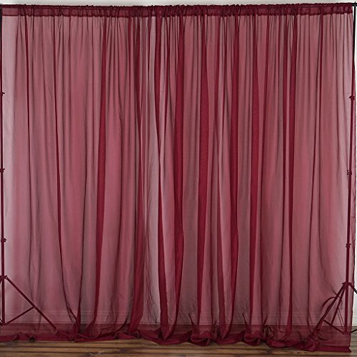 Efavormart 10FT Premium Fire Retardant Burgundy Sheer Voil Curtain Panel Backdrop for Window Wall Decoration - Premium Collection