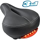 Most Comfortable Bicycle Saddle Seat with WATERPROOF LED TAILLIGHT Dual Shock Absorbing Balls Aolander Non-slip Leather Bike Seat Fit Men Women Memory Foam Cushion Padded Giant Bike Saddle with Cover