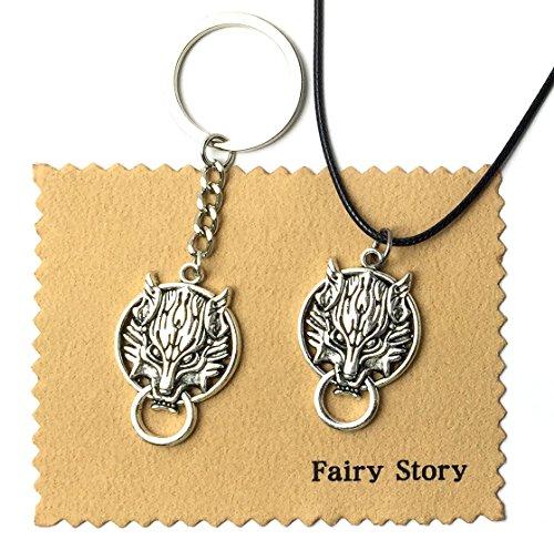 【Fairy Story】 ファイナルファンタジーVII FF7 クラウド クラウディウルフ モチーフ 【ネックレス&キーホルダー セット 】 FINAL FANTASY Ⅶ 【クロス付き】 シルバー