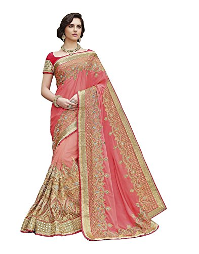 Femiss Silk Georgette Pink Saree With Blouse,Pink,Free size
