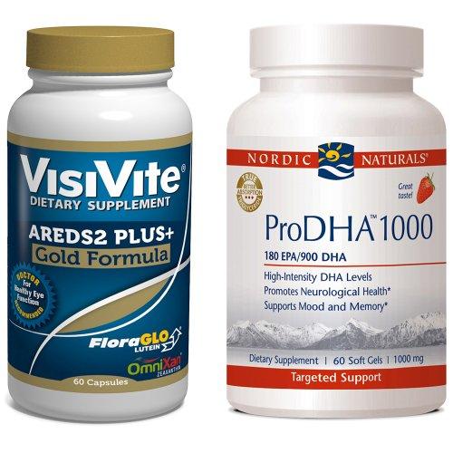 VisiVite AREDS2 Gold Plus+/Nordic Naturals ProDHA 1000 Combo Pack