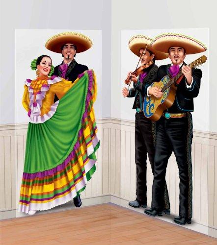 [Amscan Fiesta Cinco de Mayo Dancers & Mariachis Scene Setter Decoration (2 Piece), Multi Color, 17.7 x 11.7