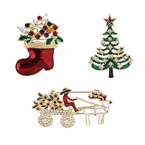 - YSD Jewelry Christmas Brooch Pins Set Holiday Brooch Christmas Tree Snowman Xmas Pin Lot Party Favor Christmas Brooch Pin Set Gifts