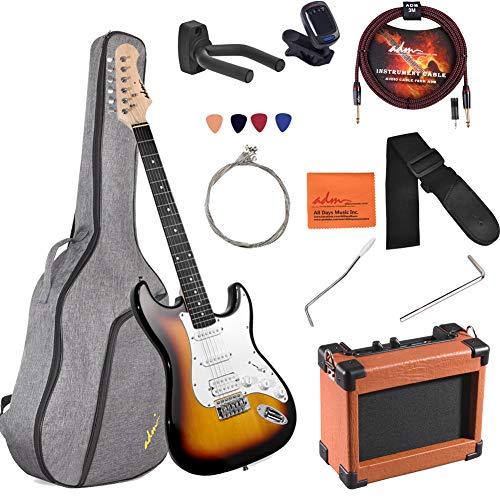 ADM Electric Guitar Beginner Kit 39 Inch Full Size Sunburst, Starter Package with Amplifier, Bag, Capo, Strap, String, Tuner, Cable and Picks (Sunburst)