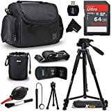 Xtech 64GB Memory Card Kit + Premium Camera Case + Pro Series 72' inch Tripod f/ Nikon Coolpix A900, B500, B700, L340, L840, L830, W300, W100, P900, P610, AW130, AW120, S9900 (64GB Accessories Kit)