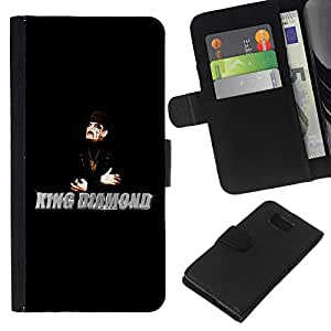 KingStore / Leather Etui en cuir / Samsung ALPHA G850 / King Diamantes Hombre Mago Negro Sombrero Arte