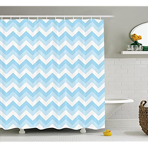 aqua coloured bathroom accessories. Ambesonne Chevron Decor Shower Curtain Set  Zig Zag Pattern Sea Aqua Colors Classical Antique Artwork Llustration Bathroom Accessories 75 Inches Long Art In Amazon Com