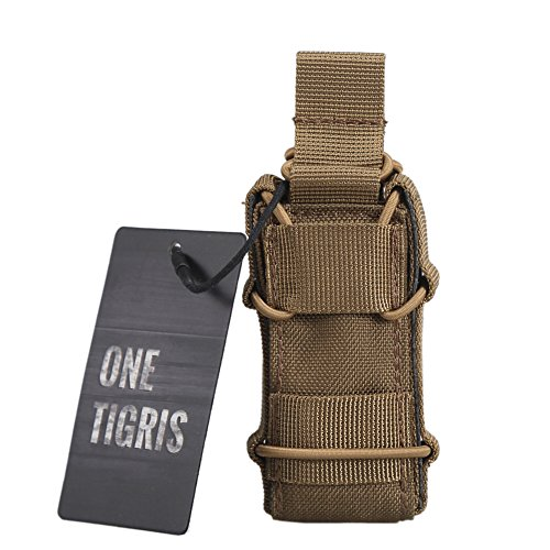 OneTigris Open-Top Single Pistol Mag Pouch Adjustable Magazine Holder for M1911 92F Glock USP (Coyote Brown - Upgraded Version)