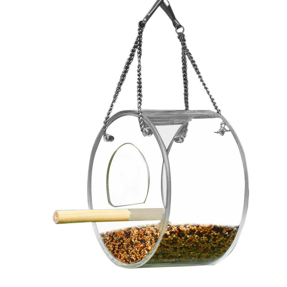 Bird Food Bowl Box Foraging Toy with Perch Indoor Outdoor Garden Anti-scatter Seed Automatic Feeder Dispenser for Parrot Budgie Parakeet Cockatiel Conure Lovebird Finch African Grey Cockatoo Amazon Cage Keersi