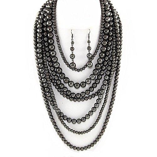 Statement Beaded Layered Strand Metallic Simulated-Pearl Bead Long Necklace Set Gift Bijoux - Hematite Necklace Jewelry Set Costume