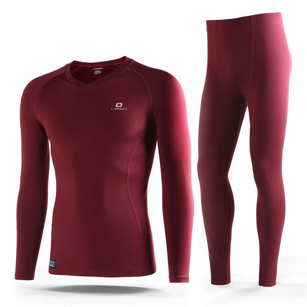 Aszhdfihas Radsportunterwäsche Enganliegend Lässige Herren-Thermo-Unterwäsche Sport Outdoor Enges Jersey (Farbe   Rot, Größe   L)