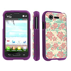 SkinGuardz LG L34C Optimus Fuel / Zone 2 VS415 Full Protection Hard Case - (Pink Hawaii Camo Purple)