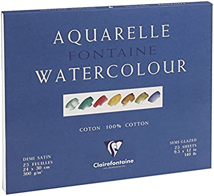 300 g 24 x 30 cm Clairefontaine Fontaine Semi Hot Pressed Watercolour Glued Pad 25 Sheets Glued 4 sides