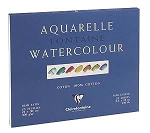 Clairefontaine 96406C - Bloc de dibujo (papel de acuarela de satinación media, grano fino, 24 x 30 cm, 25 páginas, 300 gr, Fontaine/Hadern), color blanco