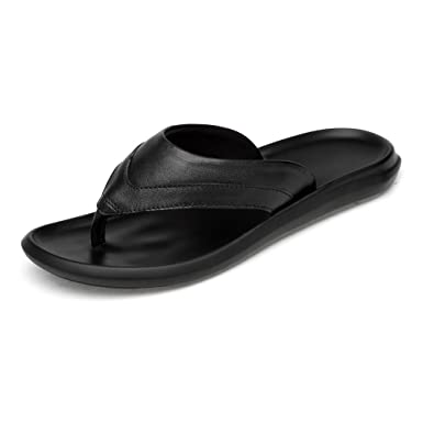 20e1fd72d9e MUMUWU Men s Thong Flip Flops Beach Slippers Genuine Leather Non-slip  Outsole Sandals Guess (
