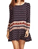 ROMWE Women's Bohemian Vintage Printed Ethnic Style Summer Shift Dress Multicolor M